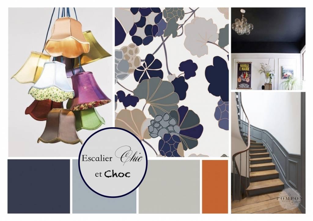 Planche d'ambiance escalier par le Pompon sur la Déco décoratrice UFDI Cherbourg 50
