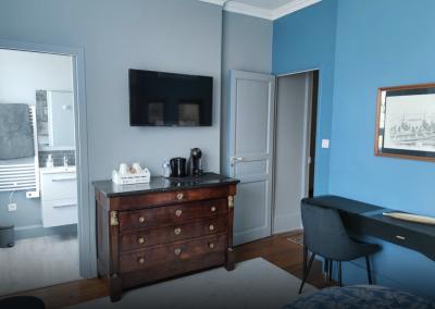 Chambre d'hôtes bleu et gris