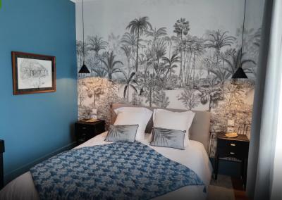 Chambre d'hôtes bleu et noir