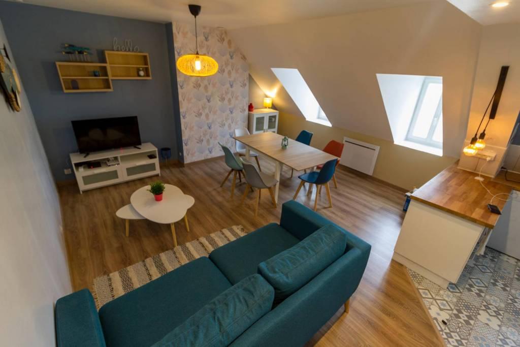 Appartement à la location sur Cherbourg pièce à vivre par le Pompon sur la Déco décoratrice d'intérieur UFDI 50